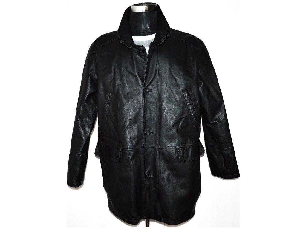 KOŽENÁ pánská černá bunda se stojáčkem L