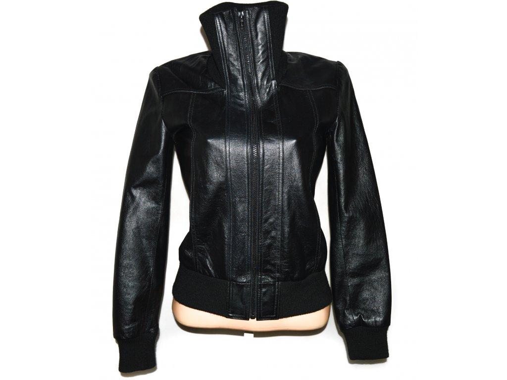 KOŽENÁ dámská černá měkká bunda na zip M