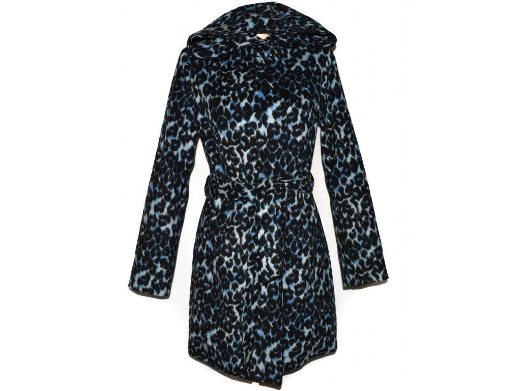 Dámský modrý zateplený leopardí kabát s páskem a kapucí BPC L