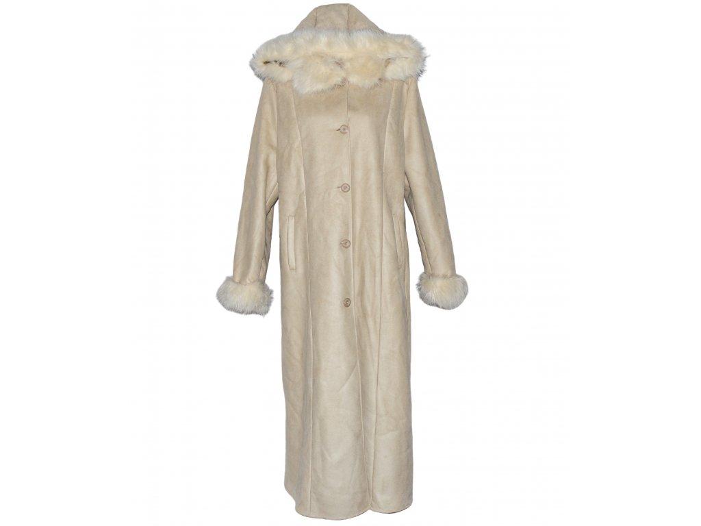 Dámský dlouhý zimní béžový kabát s kožíškem a kapucí XXL