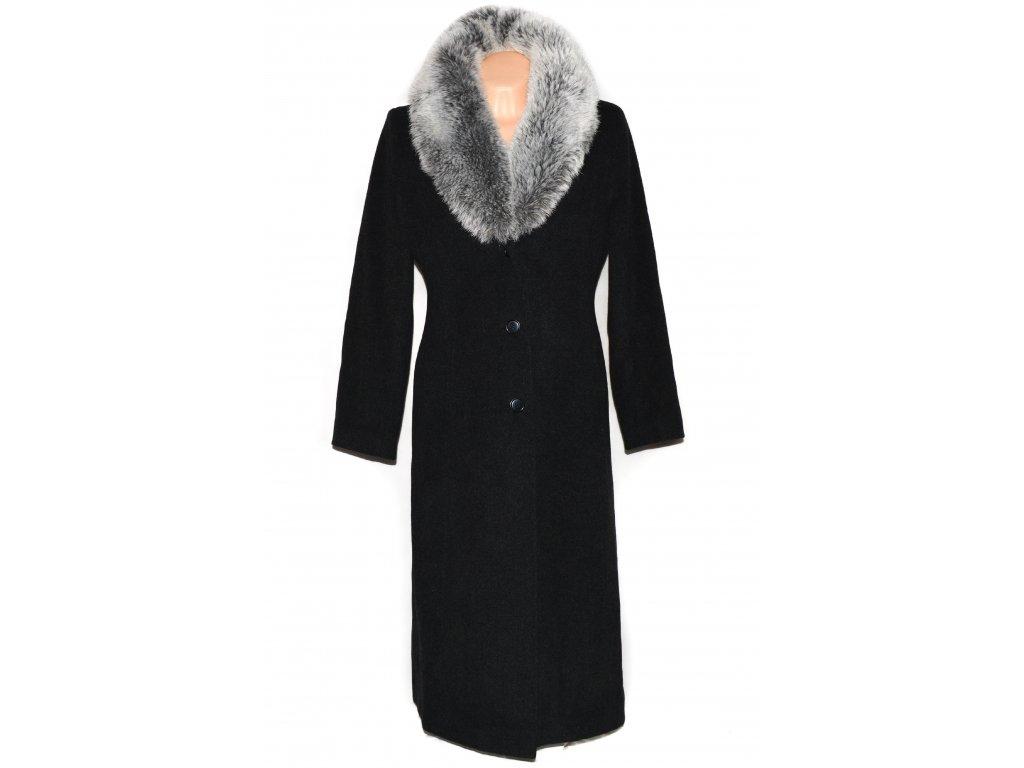 Vlněný (80%) dámský dlouhý šedý kabát s kožíškem L