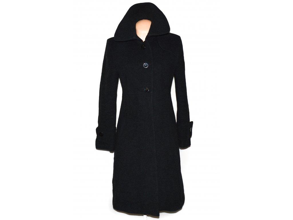 Vlněný (60%) dámský dlouhý šedočerný kabát 40