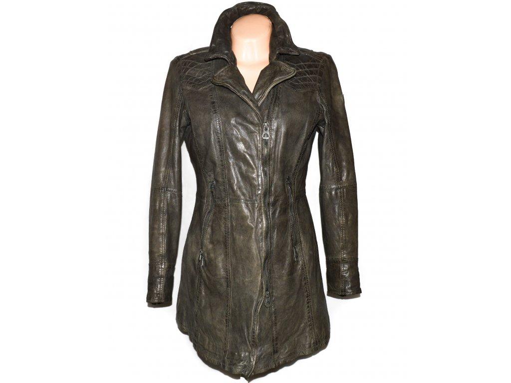 KOŽENÝ dámský khaki měkký kabát - křivák GIPSY L