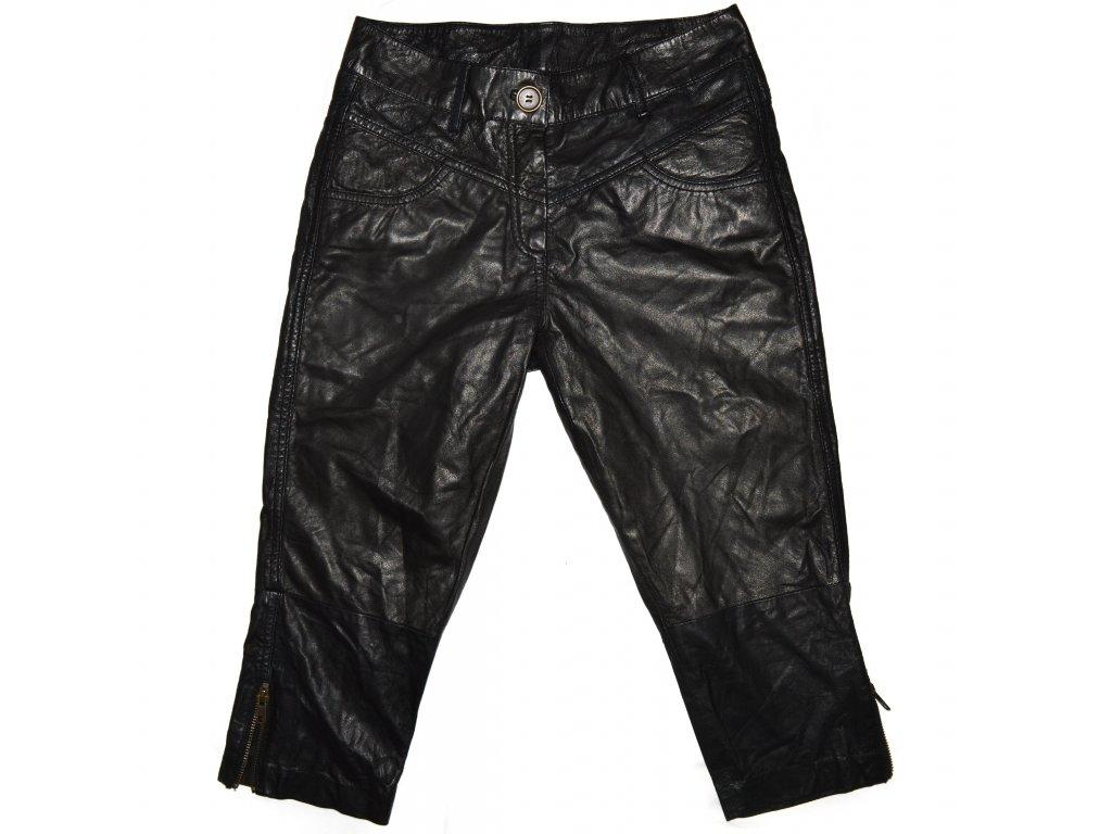 KOŽENÉ dámské černé měkké 3/4 kalhoty Mandarin S