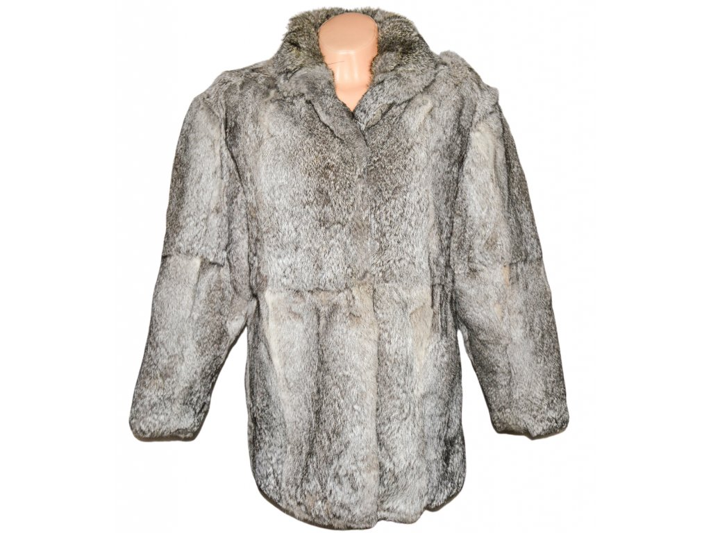 PRAVÝ dámský stříbrný kožich XL