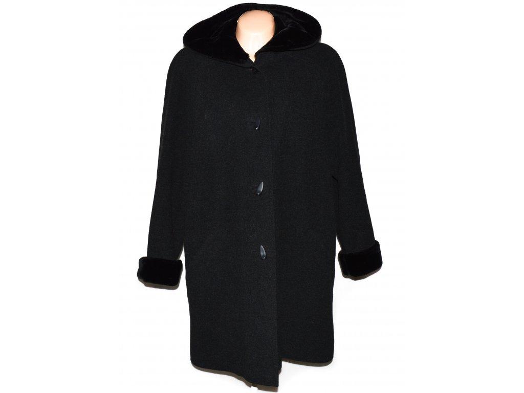 Vlněný (80%) dámský šedočerný dlouhý kabát s kapucí IBC XXL
