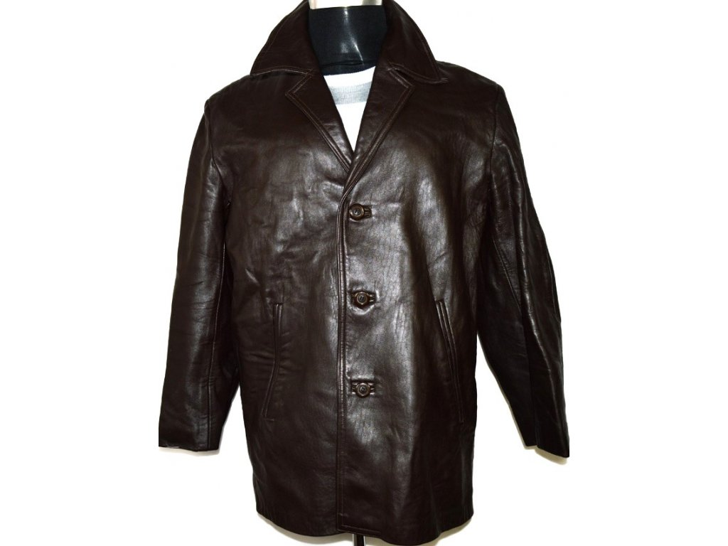 KOŽENÝ pánský měkký hnědý kabát vel. M