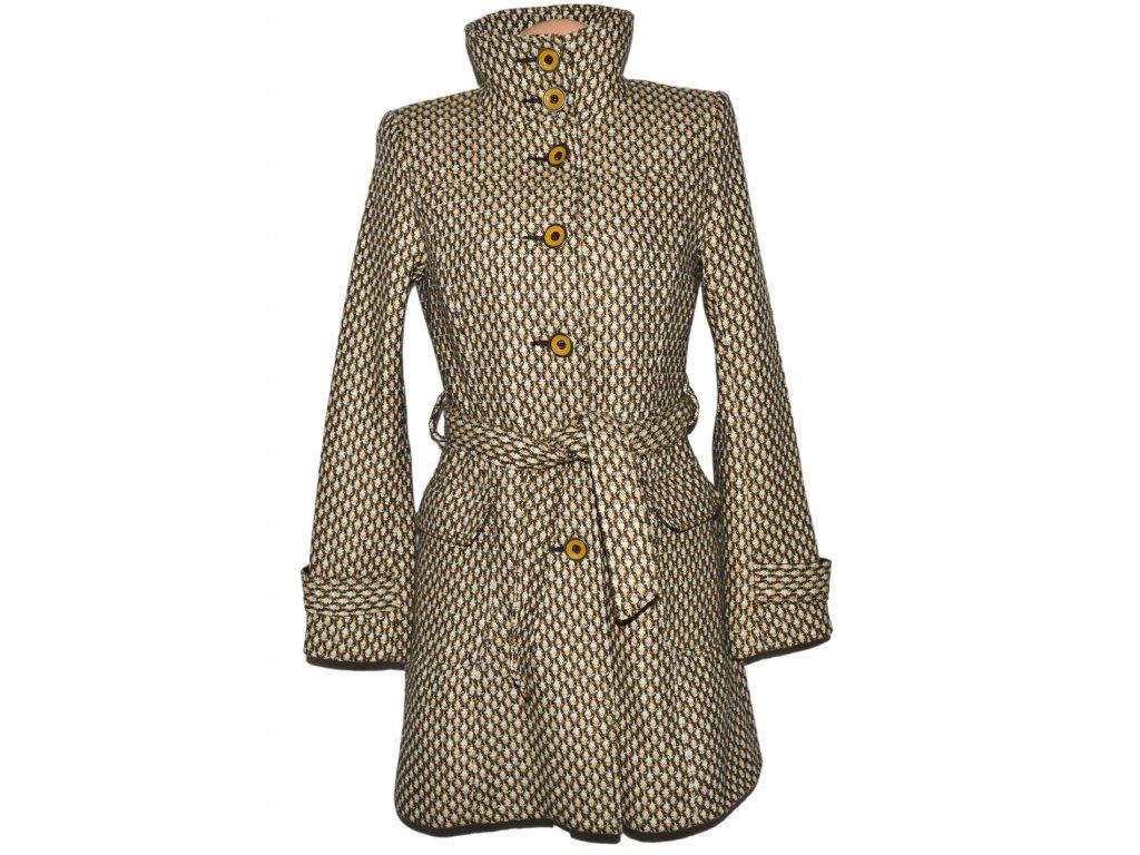 Dámský hořčicový vzorovaný kabát s páskem Orsay M