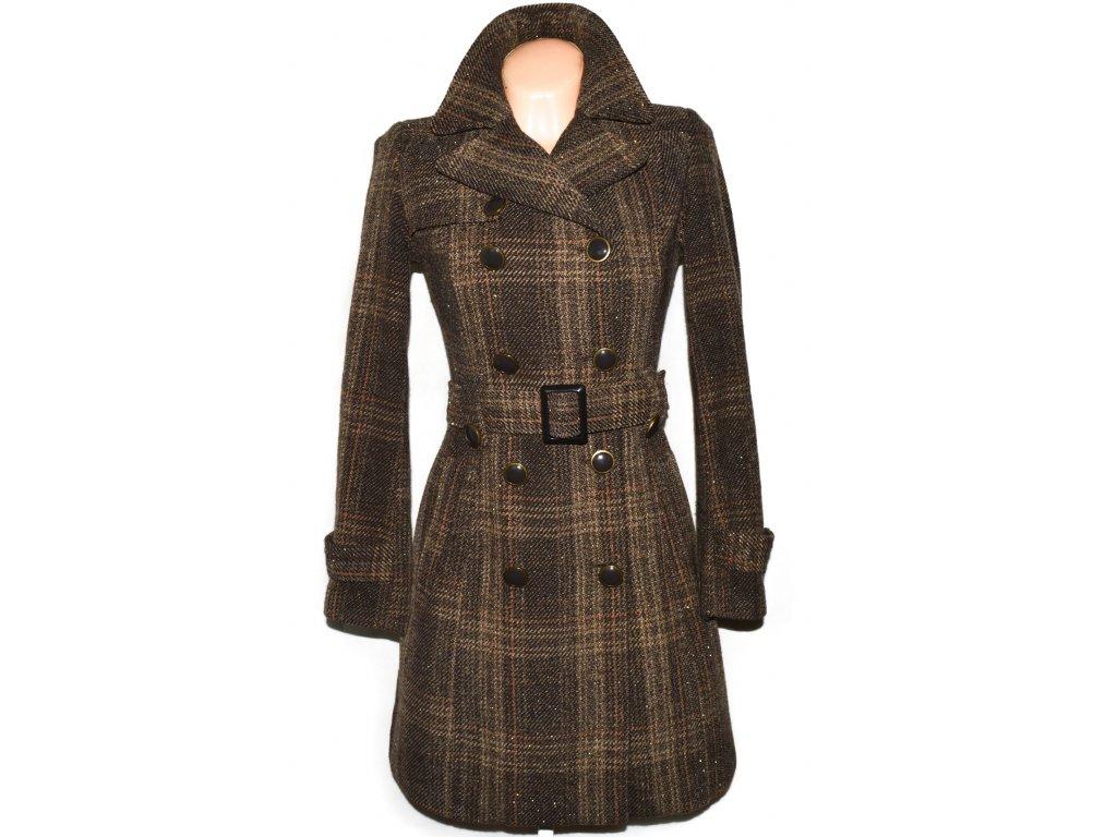 Vlněný dámský hnědý kabát s páskem ORSAY 36