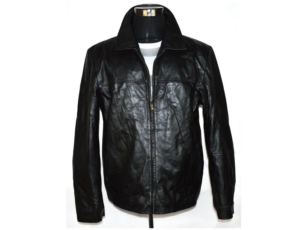 KOŽENÁ pánská černá měkká bunda na zip XL