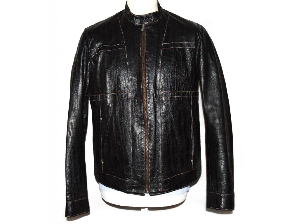 KOŽENÁ pánská hnědá měkká bunda na zip Gian Mori M