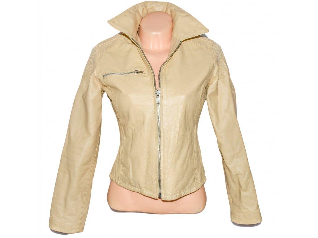 KOŽENÁ dámská krémová bunda na zip ORSAY 38