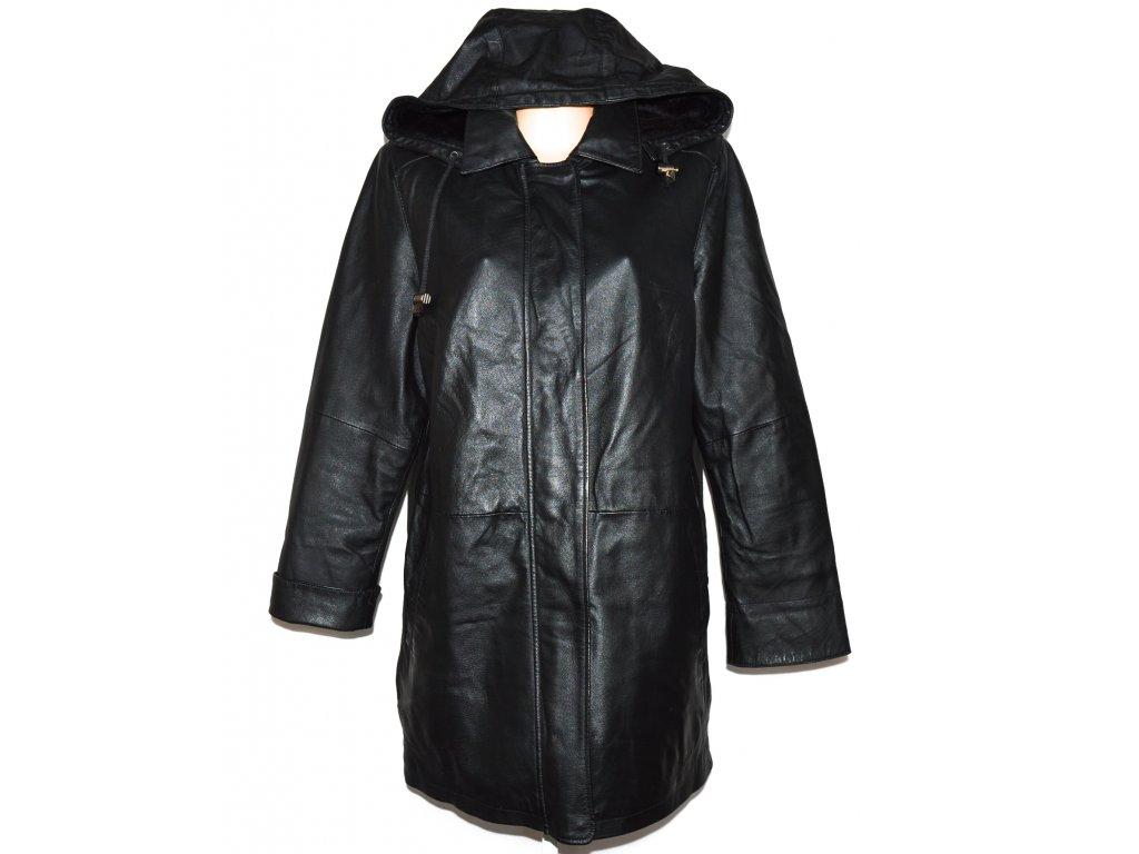 KOŽENÝ dámský černý měkký kabát s kapucí XXL
