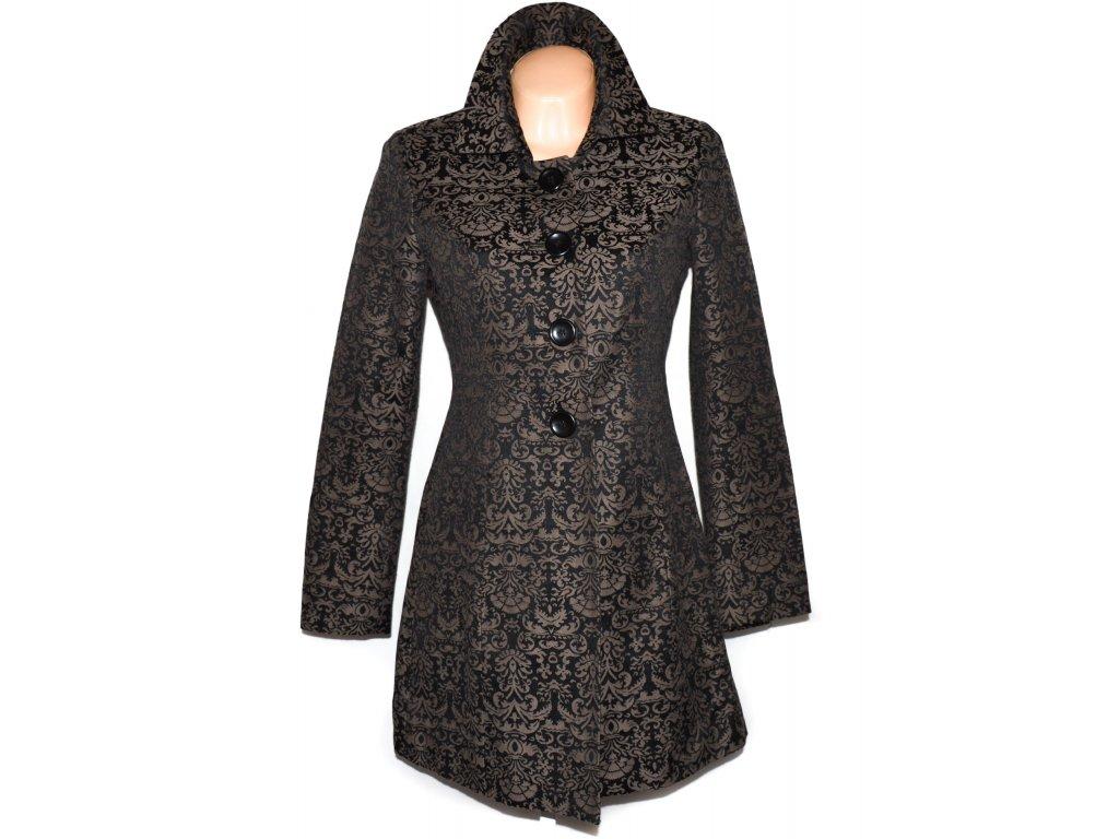 Vlněný (67%) dámský hnědočerný kabát s ornamenty Jake*s 36