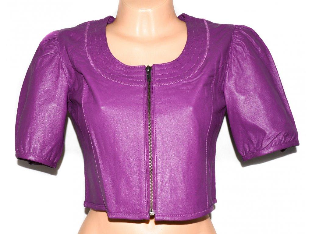 KOŽENÁ dámská fialová měkká bunda - bolerko Paprika M