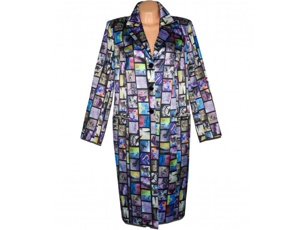 Extravagantní dámský obrázkový kabát XL