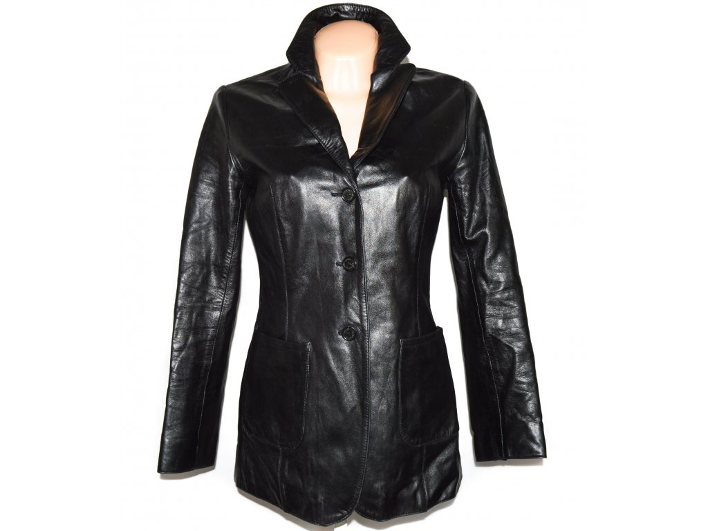 KOŽENÝ dámský černý měkký kabát Catherine Khan 36