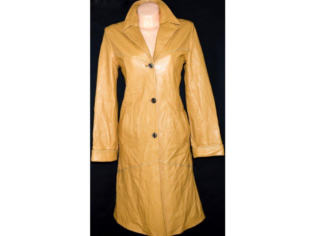 KOŽENÝ dámský hnědý měkký zateplený kabát 40