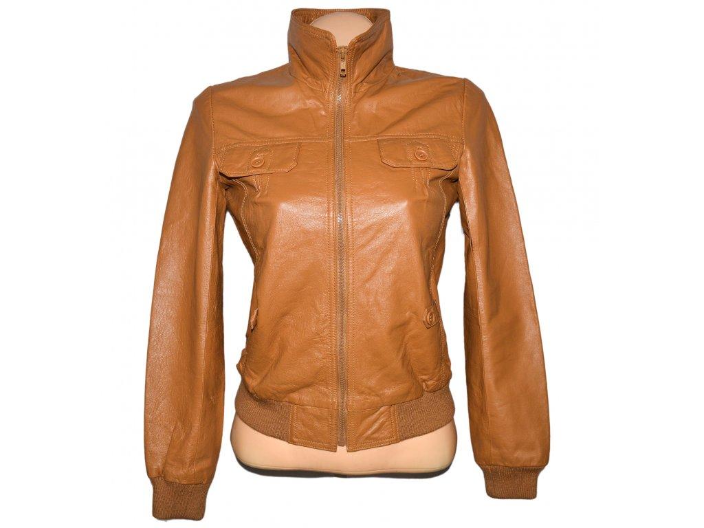 KOŽENÁ dámská hnědá bunda na zip S