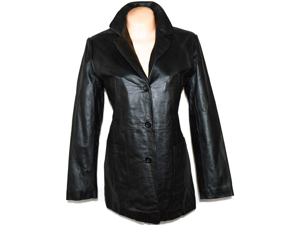 KOŽENÝ dámský černý kabát DETAIL UK 14/ XL