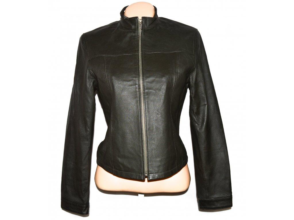 KOŽENÁ dámská khaki zelená měkká bunda na zip NEW LOOK M/12