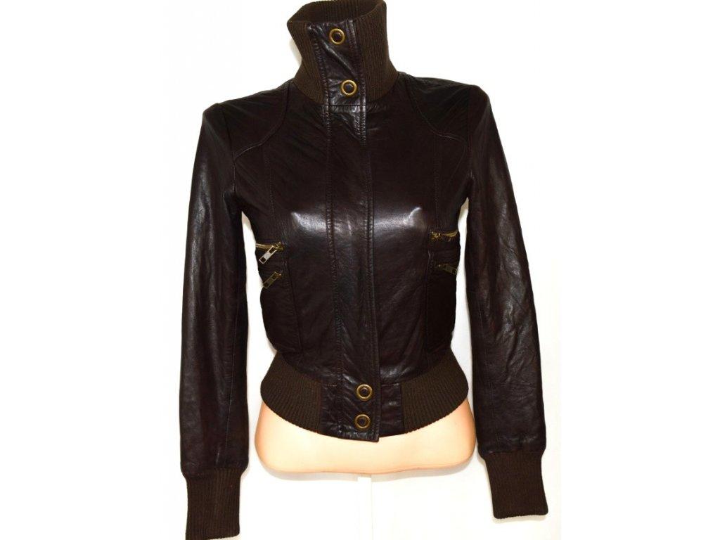 KOŽENÁ dámská hnědá měkká bunda na zip OASIS XS