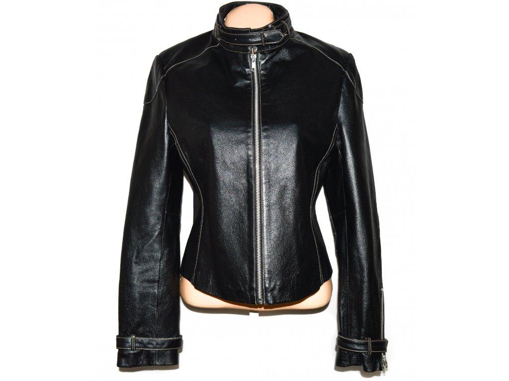 KOŽENÁ dámská černá měkká bunda na zip Authentic 42