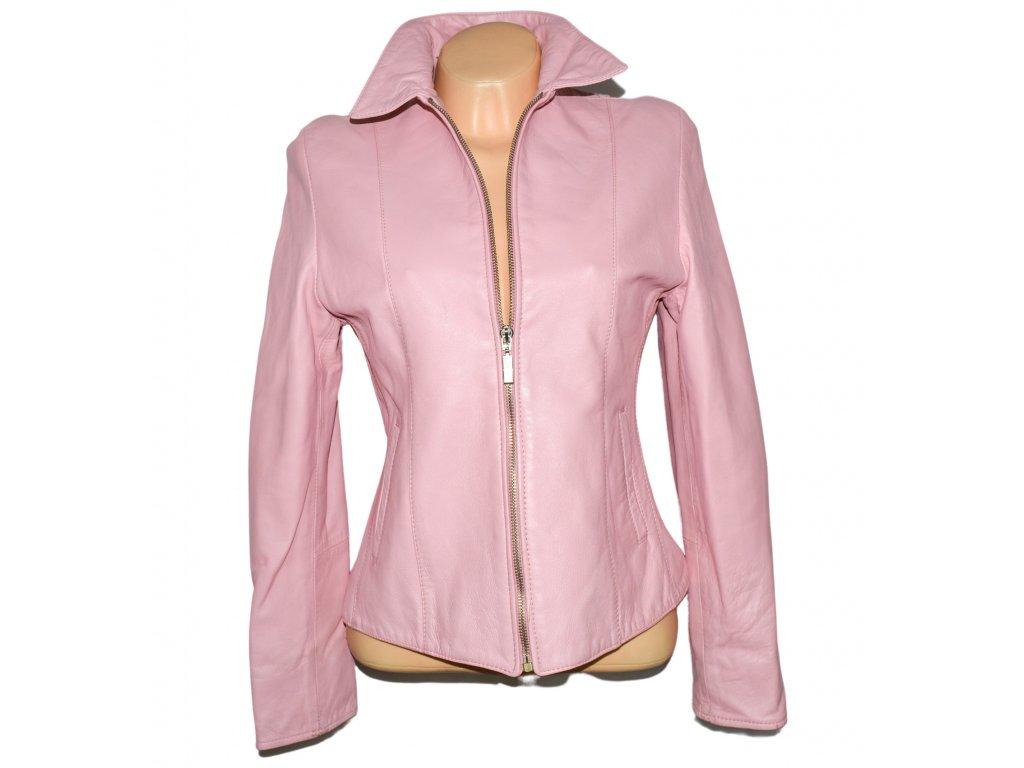 KOŽENÁ dámská růžová měkká bunda na zip KPL M