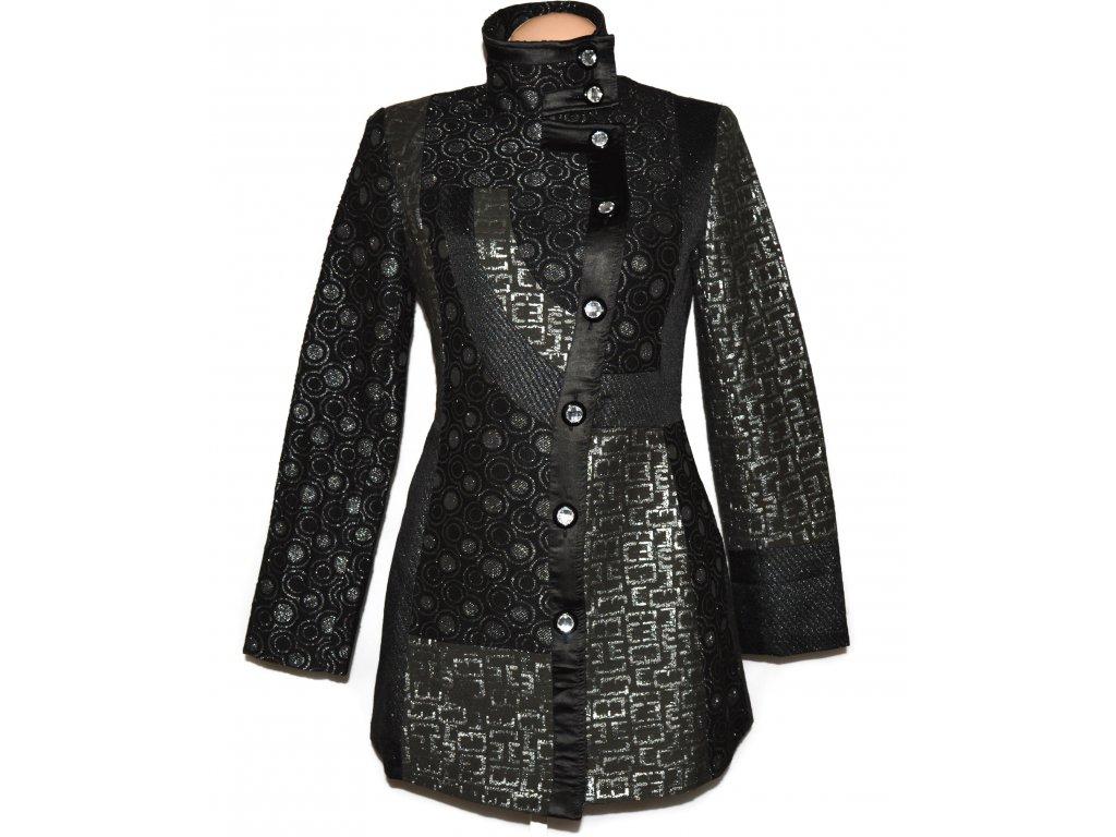 Extravagantní dámský stříbrný žakárový kabát Club 38