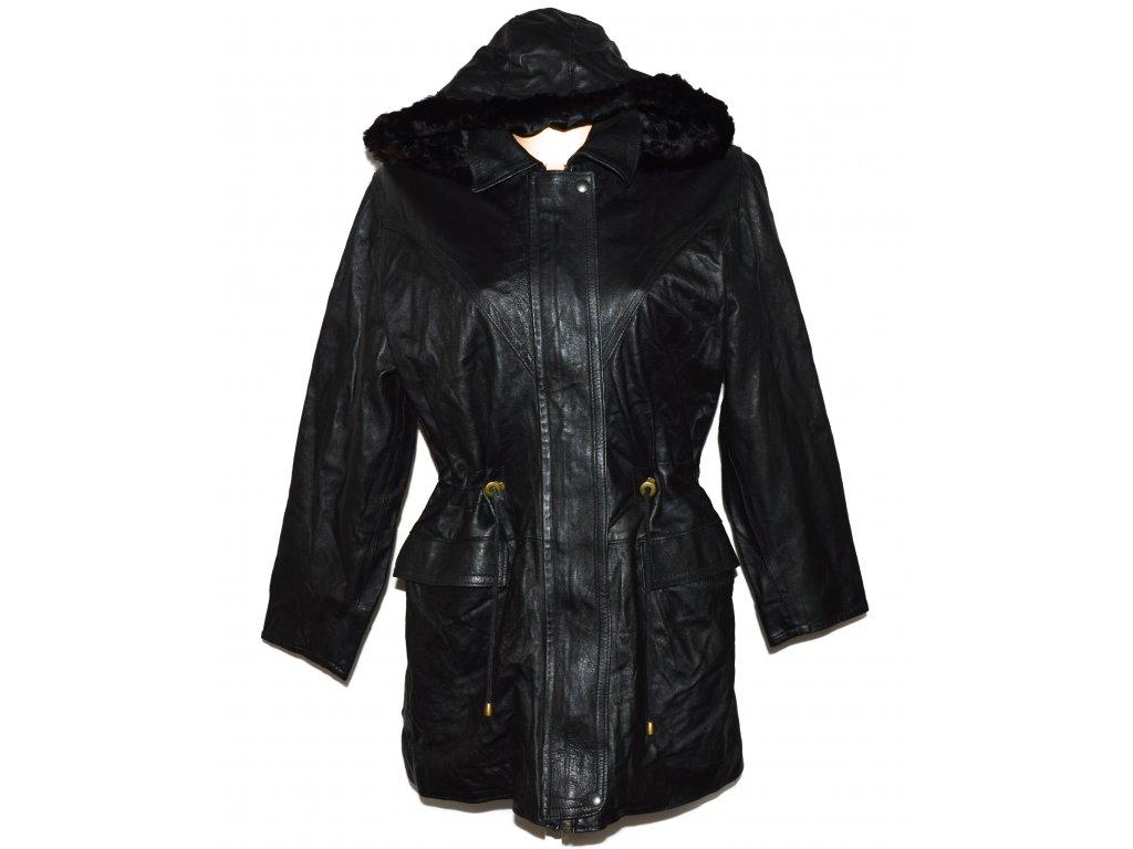 KOŽENÁ dámská černá měkká zateplená parka s kapucí XL