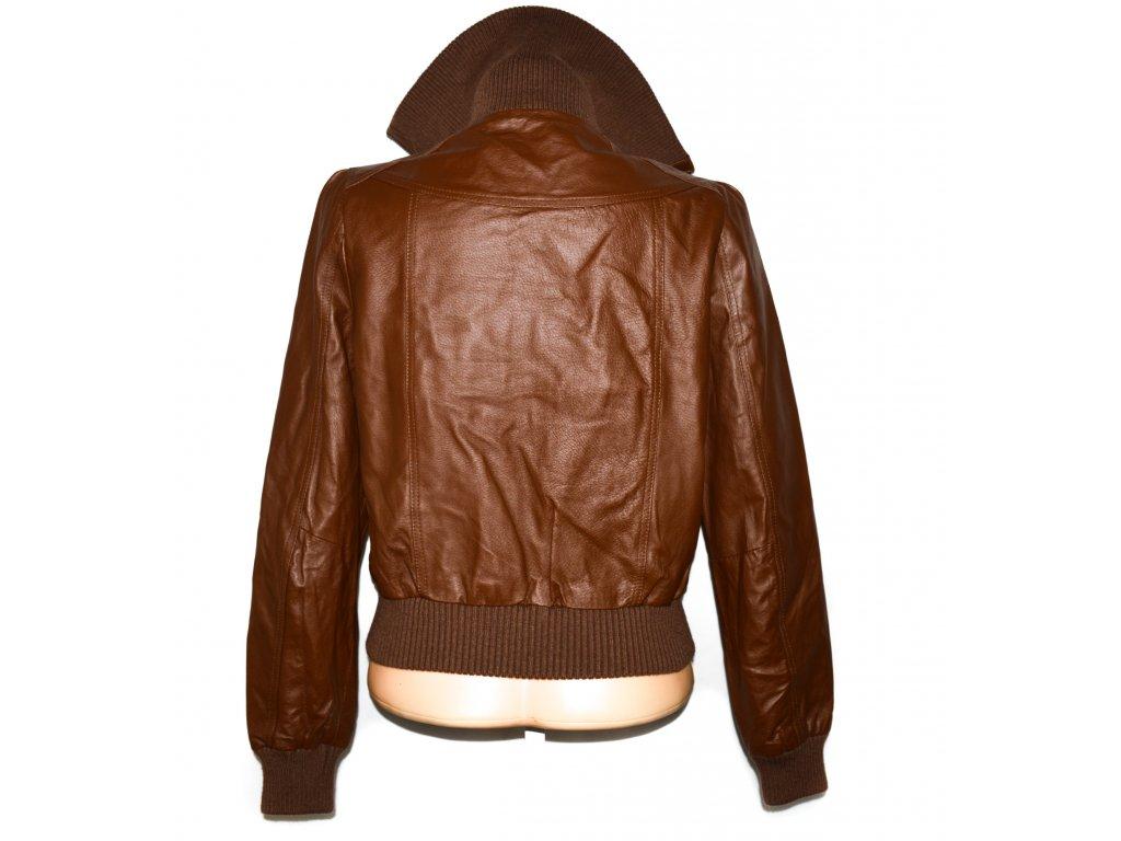 KOŽENÁ dámská hnědá bunda na zip