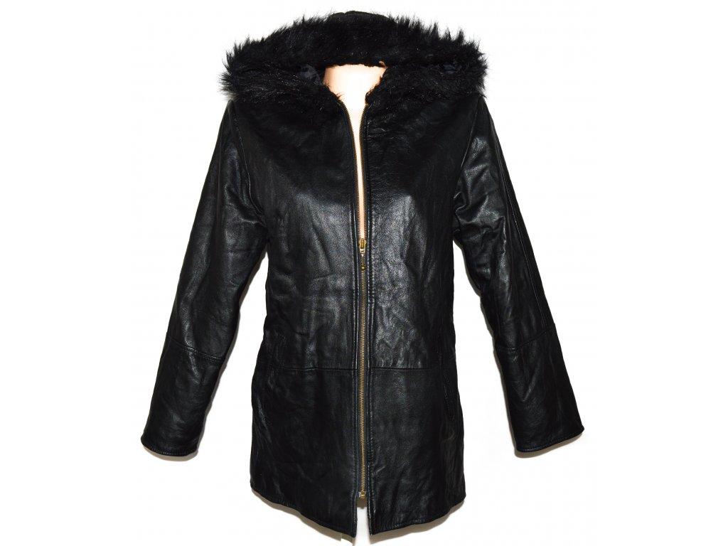 KOŽENÝ dámský černý měkký zateplený kabát s kapucí XL