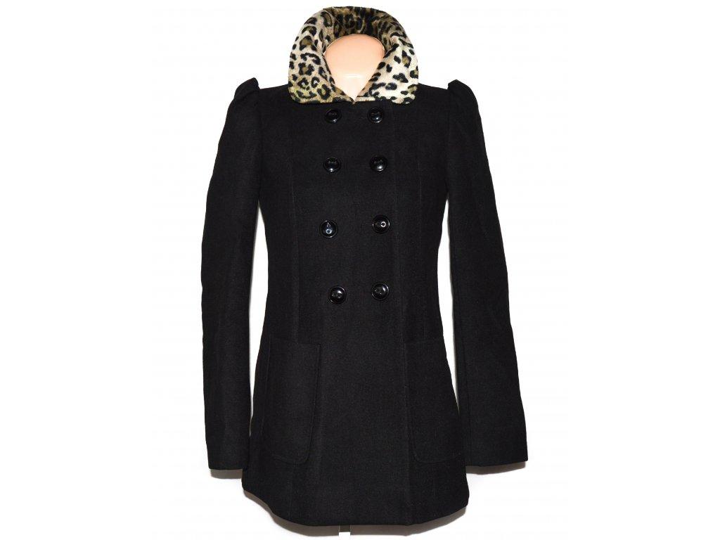 Dámský černý kabát s leopardím límcem Dorothy Perkins S