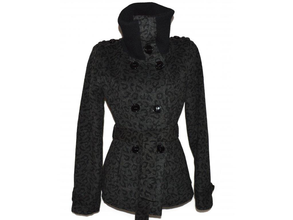 Dámský šedočerný leopardí kabát s páskem L