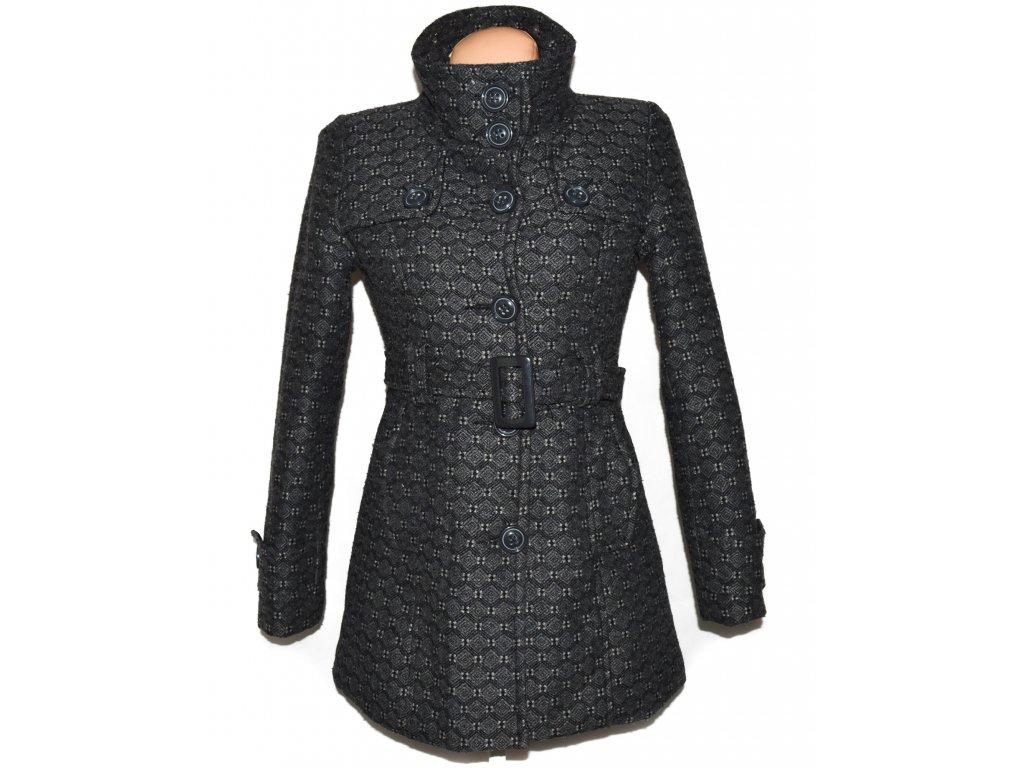 Dámský šedý zateplený kabát se vzorem s páskem Paris Cat M