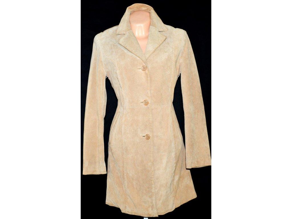 KOŽENÝ dámský béžový kabát Montgomery vel. L