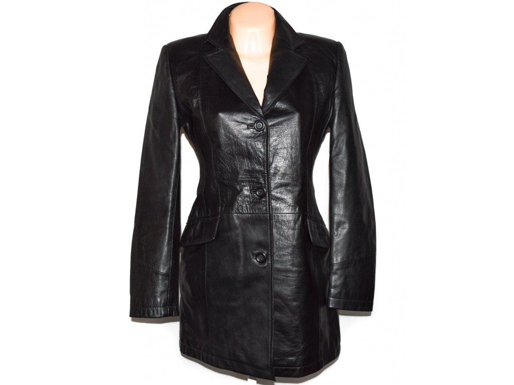 KOŽENÝ dámský černý měkký kabát 36