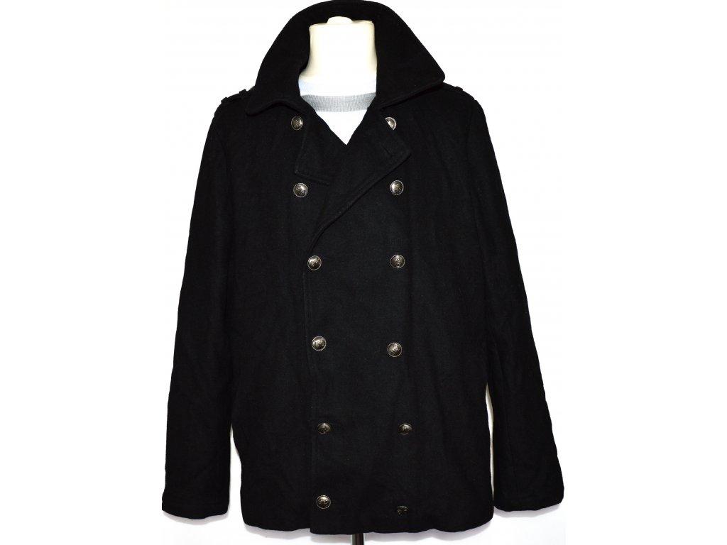 Vlněný pánský černý kabát Jeff Banks vel. L