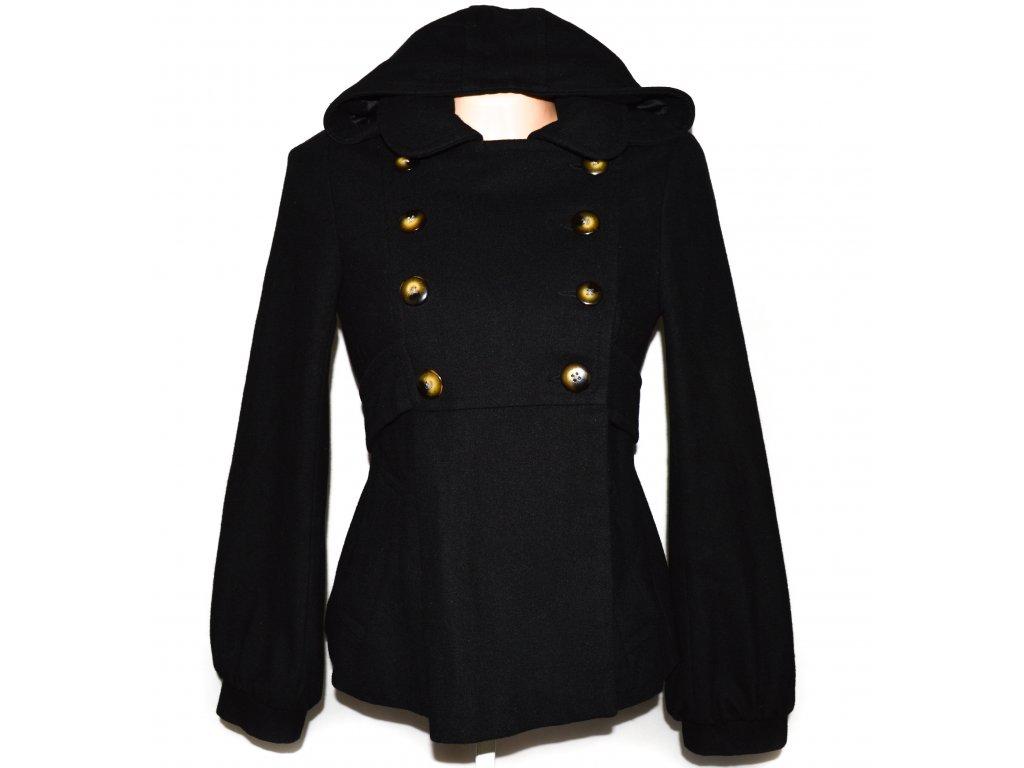 Vlněný (49%) dámský černý kabátek s kapucí TOPSHOP S