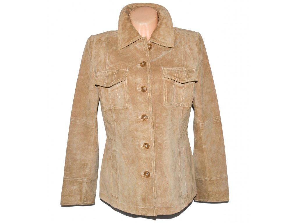 KOŽENÁ dámská béžová broušená bunda Mossimo XL