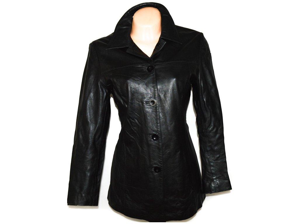 KOŽENÝ dámský měkký černý kabát Ll
