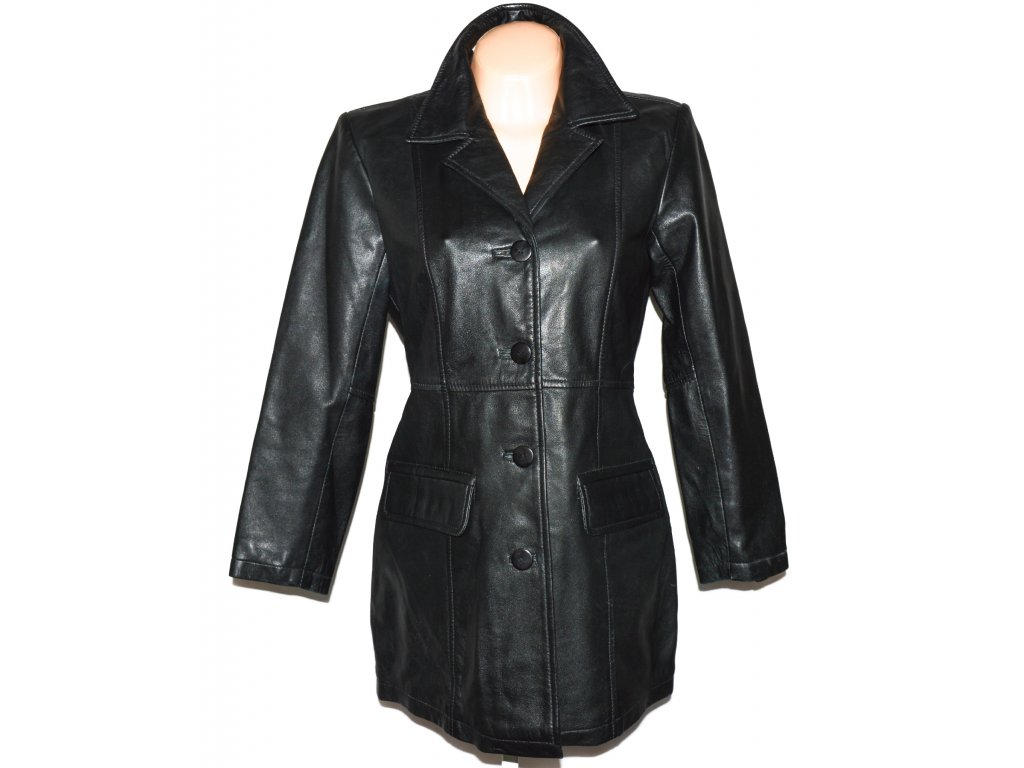 KOŽENÝ dámský černý měkký kabát VIVID M