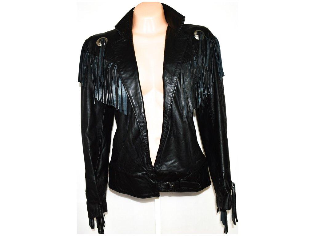 KOŽENÁ dámská černá měkká bunda s třásněmi