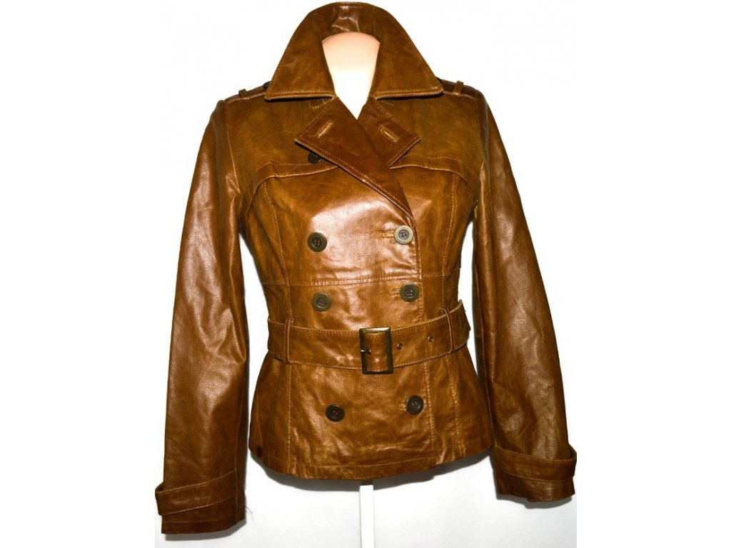 KOŽENÝ dámský hnědý kabátek s páskem BAY L