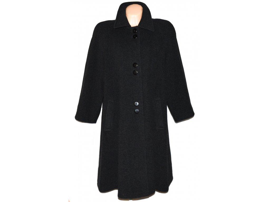 Vlněný (80%) dámský dlouhý šedý kabát City Life XXL