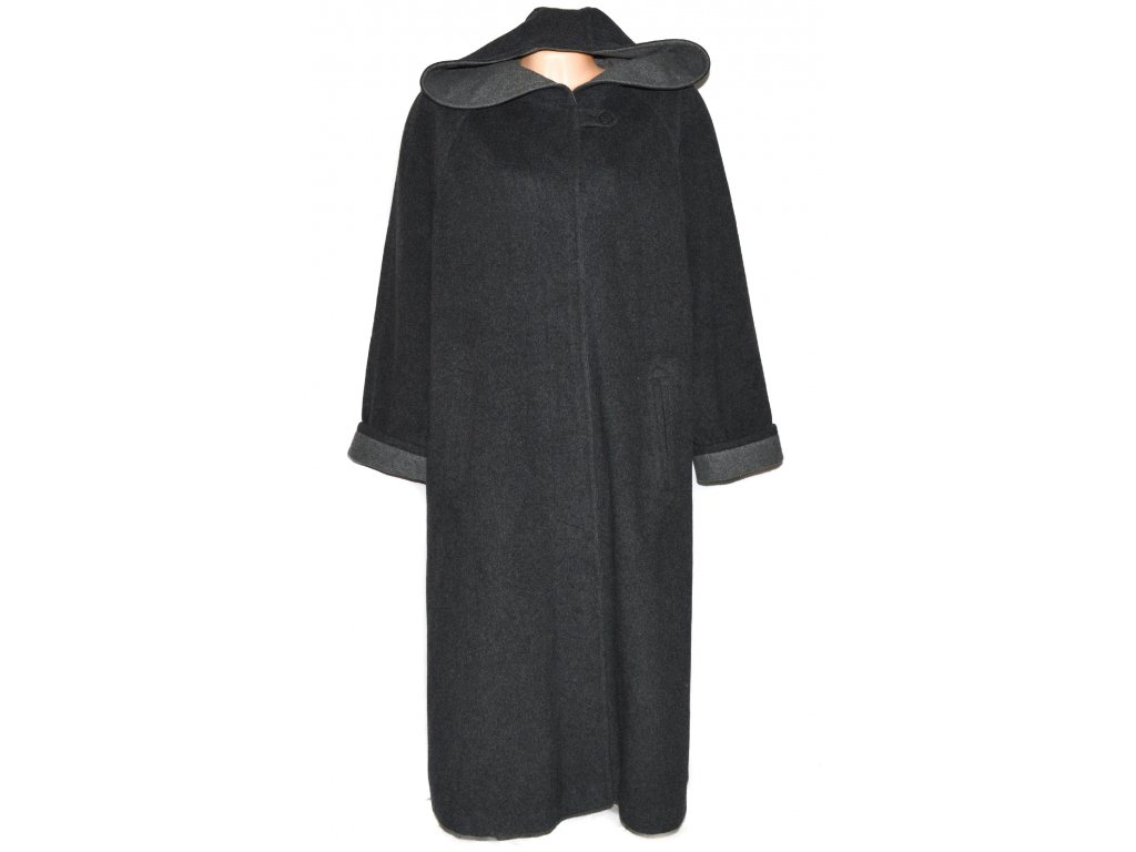 Vlněný (80%) dámský dlouhý šedý kabát s kapucí XXXL