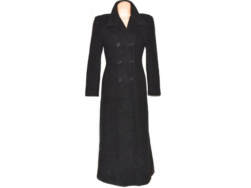 Vlněný (70%) dámský šedočerný kabát (vlna, kašmír) 38