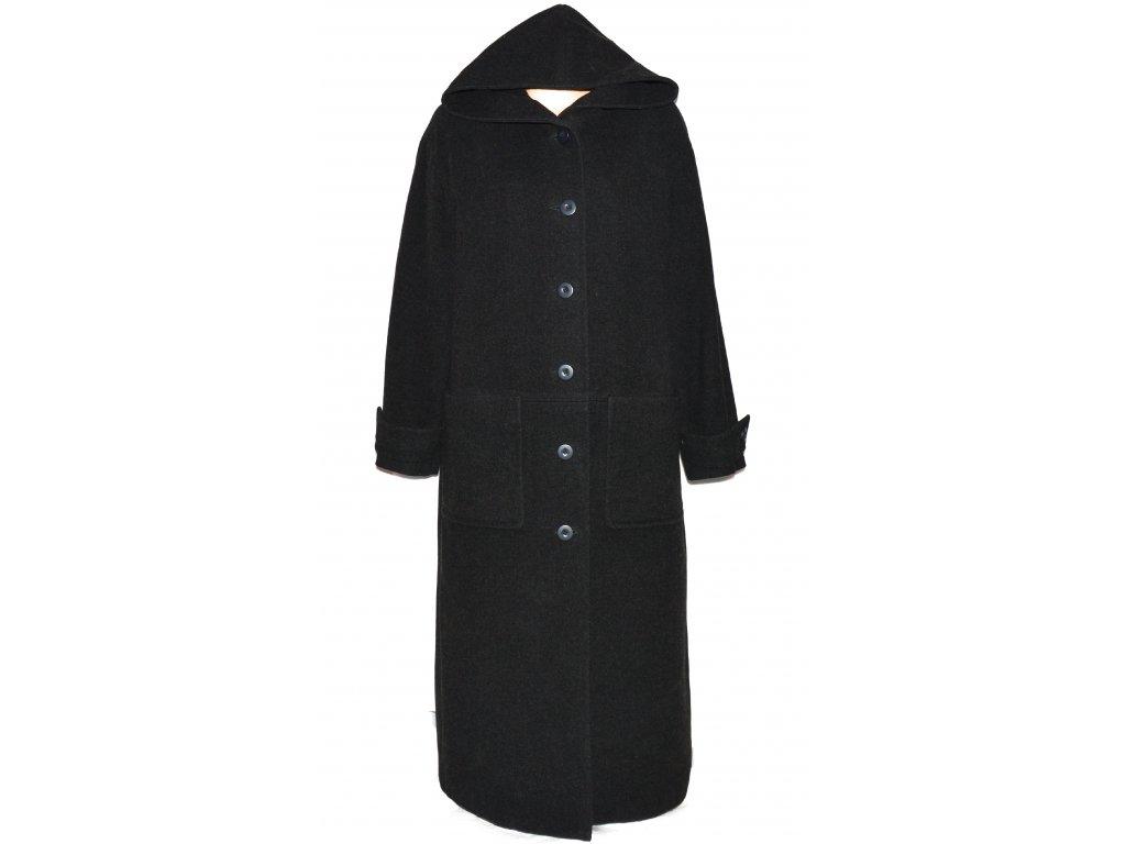 Vlněný dámský dlouhý šedočerný kabát s kapucí XXXL