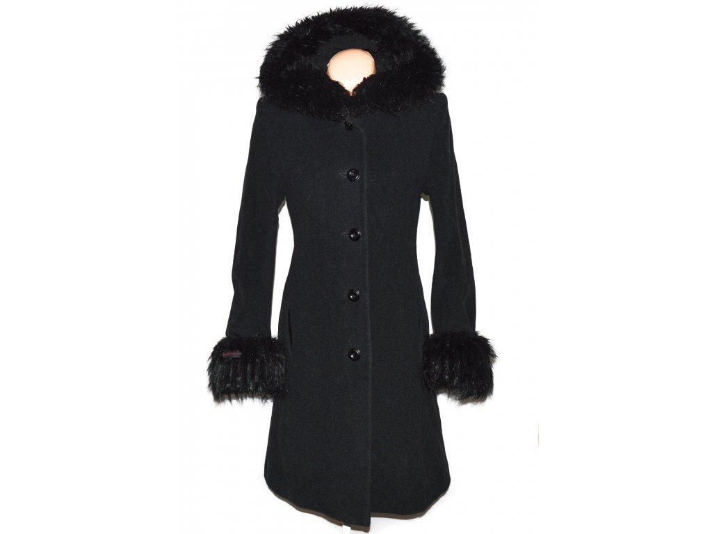 Vlněný (70%) dámský šedočerný kabát s kapucí (vlna, kašmír) XS/S