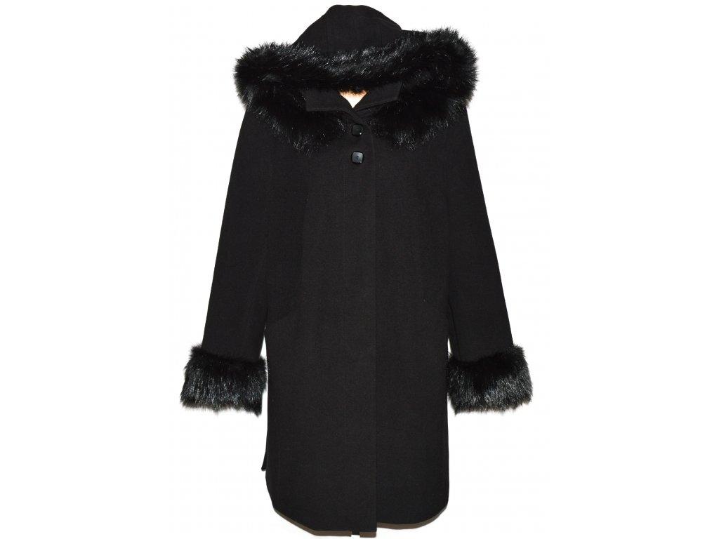 Kašmírový/vlněný dámský černý zateplený kabát s kapucí XXL+
